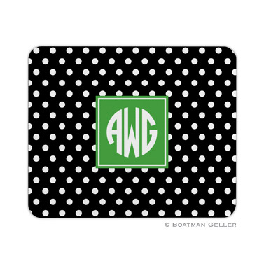 Polka Dot Black Mouse Pad