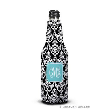 Madison Damask Black Bottle Koozie