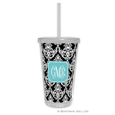 Madison Damask Black Beverage Tumbler