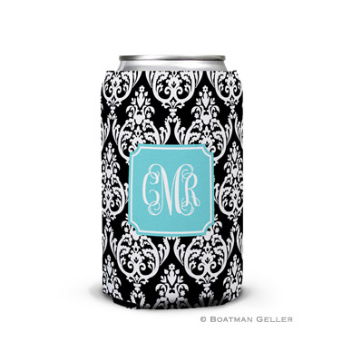Madison Damask Black Can Koozie