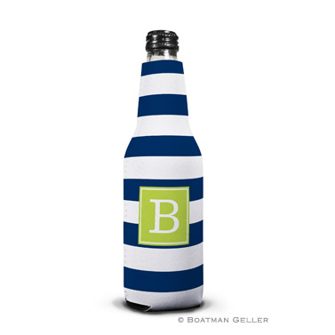 Awning Stripe Navy Bottle Koozie