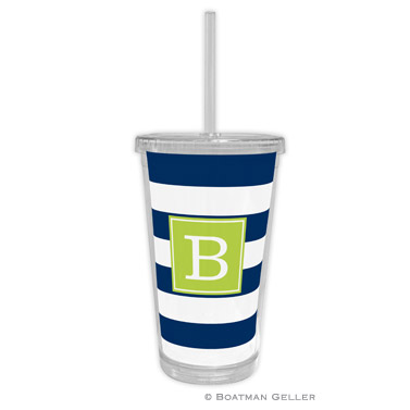 Awning Stripe Navy Beverage Tumbler