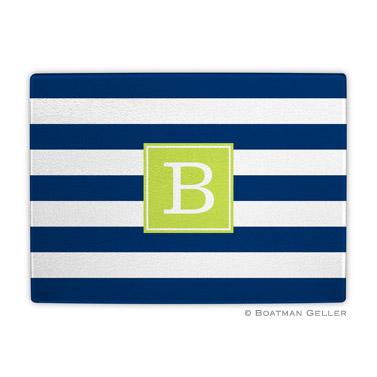 Awning Stripe Navy Cutting Board