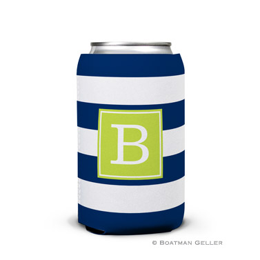Awning Stripe Navy Can Koozie
