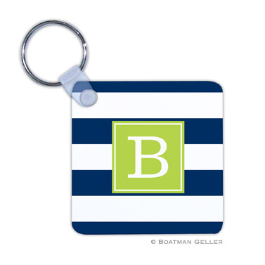 Awning Stripe Navy  Key Chain
