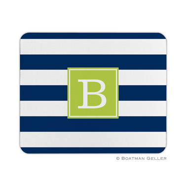Awning Stripe Navy Mouse Pad by Boatman Geller