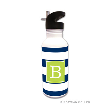 Awning Stripe Navy Water Bottle