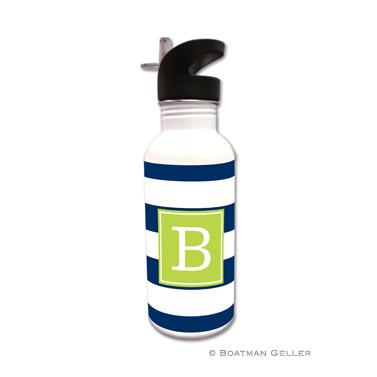 Awning Stripe Navy Water Bottle