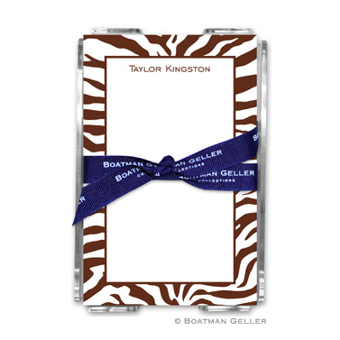 Zebra Chocolate Note Sheets in Acrylic Holder