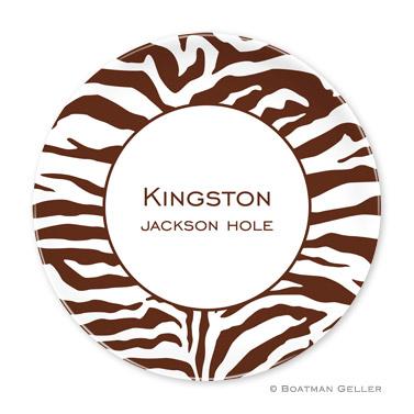 Zebra Chocolate Personalized Plate