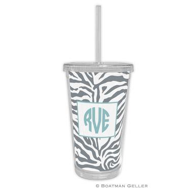 Zebra Gray Beverage Tumbler