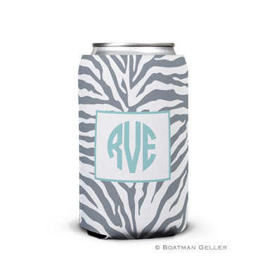 Zebra Gray Can Koozie