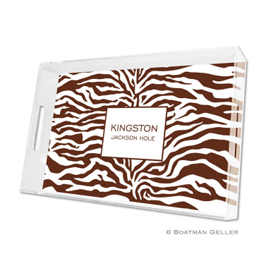 Zebra Chocolate Large Tray by Boatman Geller