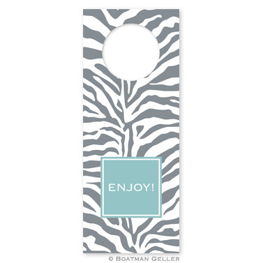 Zebra Gray Wine Tag