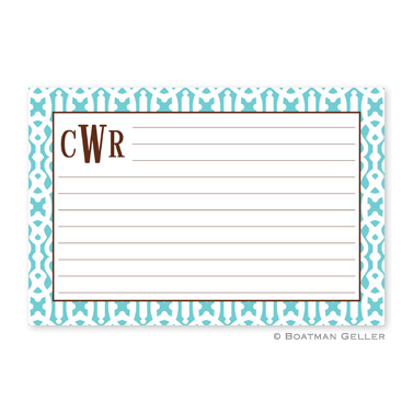 Cameron Teal Personalized Recipe Cards