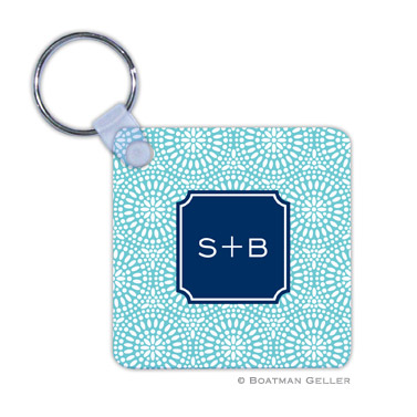 Bursts Teal  Key Chain