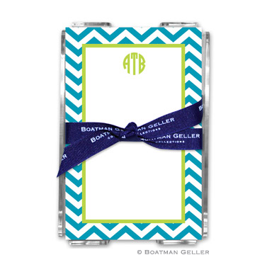 Chevron Turquoise Note Sheets in Acrylic Holder