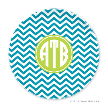Chevron Turquoise Personalized Plate