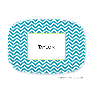Chevron Turquoise Personalized Platter