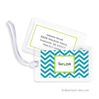 Chevron Turquoise Bag Tag
