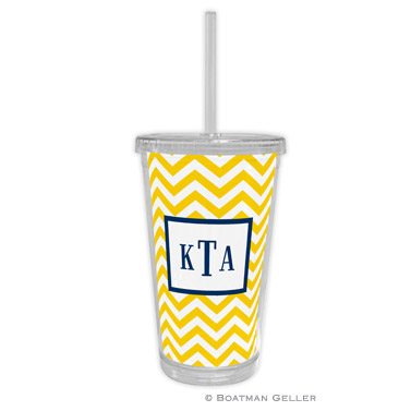Chevron Sunflower Beverage Tumbler