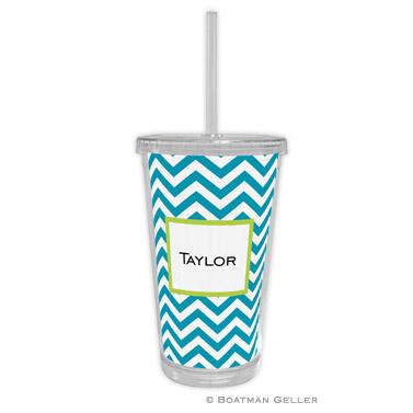Chevron Turquoise Beverage Tumbler