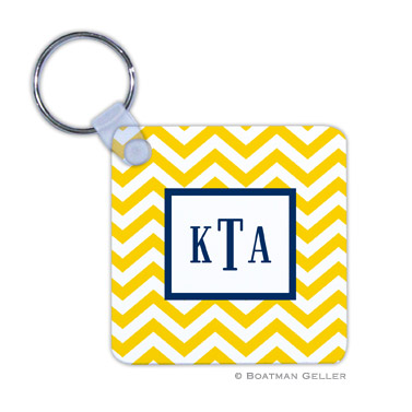Chevron Sunflower Key Chain
