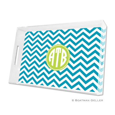 Chevron Turquoise Large Tray by Boatman Geller