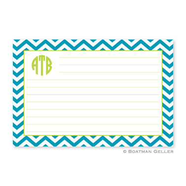 Chevron Turquoise Personalized Recipe Cards