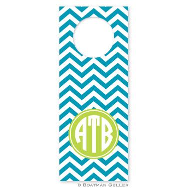 Chevron Turquoise Wine Tag