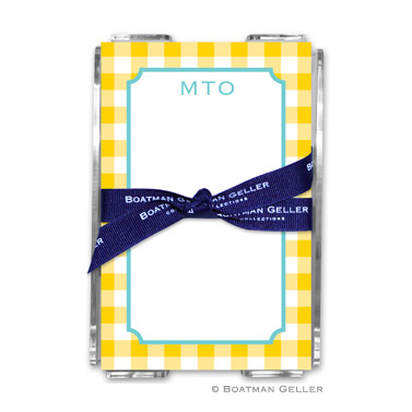 Classic Check Sunflower Note Sheets in Acrylic Holder