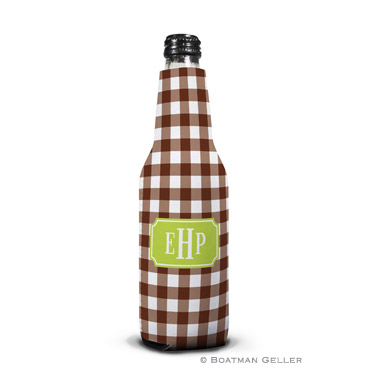 Classic Check Chocolate Bottle Koozie
