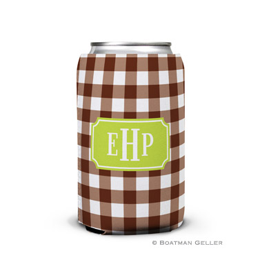 Classic Check Chocolate Can Koozie