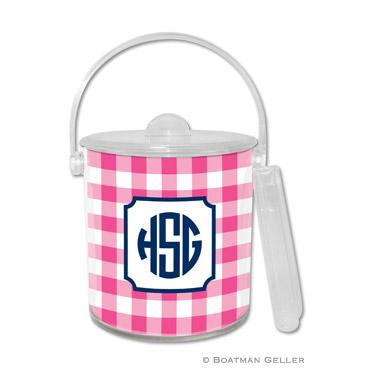 Classic Check Raspberry Ice Bucket