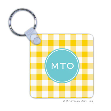 Classic Check Sunflower Key Chain by Boatman Geller