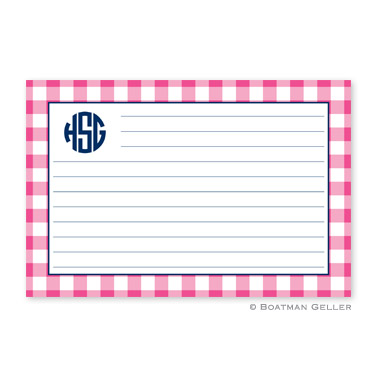 Classic Check Raspberry Personalized Recipe Cards