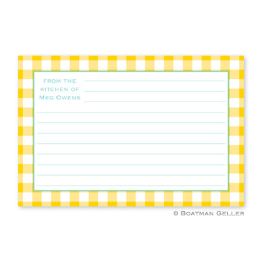 Classic Check Sunflower Personalized Recipe Cards