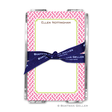 Stella Pink Note Sheets in Acrylic Holder