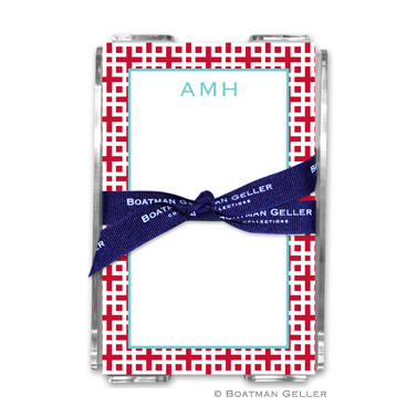 Lattice Cherry Note Sheets in Acrylic Holder