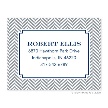 Herringbone Gray Calling Card