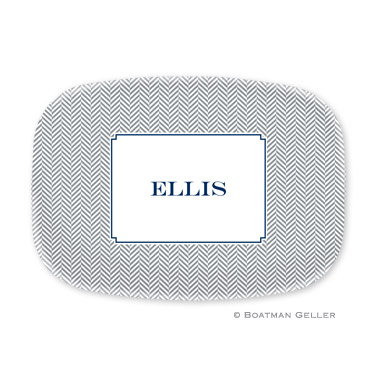 Herringbone Gray Personalized Platter