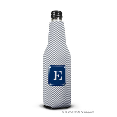Herringbone Gray Bottle Koozie