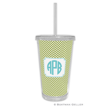 Herringbone Jungle Beverage Tumbler