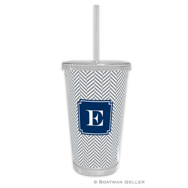 Herringbone Gray Beverage Tumbler