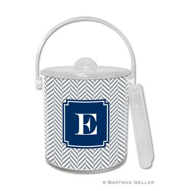 Herringbone Gray Ice Bucket