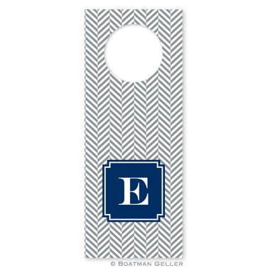 Herringbone Gray Wine Tag
