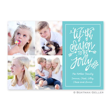Tis the Season Teal Flat Holiday Photocard