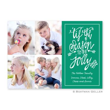 Tis the Season Emerald Flat Holiday Photocard