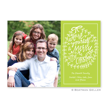 Merry Little Christmas Lime Flat Holiday Photocard
