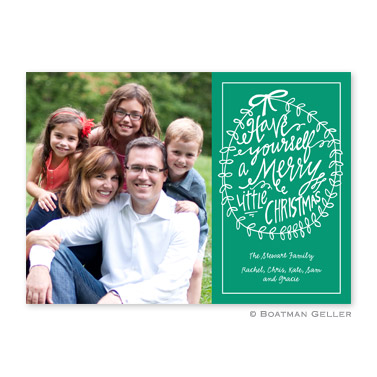 Merry Little Christmas Emerald Flat Holiday Photocard